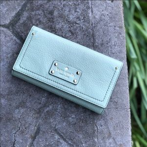 Kate Spade | Mint Green Tri-Fold Leather Wallet